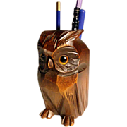 Pen Holder Desk Servant Owl Shape Hand Carved
