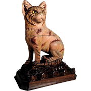 Exceptional  Hand Carved Cat Ink Well Black Forest ca. 1900
