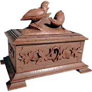 Hand Carved Jewelry Casket Game Birds ca. 1900 Black Forest
