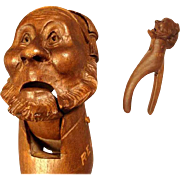Amazing Hand Carved Nut Cracker Old Man with Sleepy Head ca. 1880 Black Forest