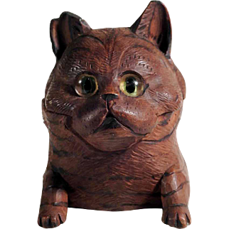Ink Well Cat Head  Miniature Black Forest ca. 1900