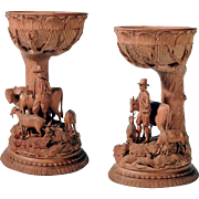 19th C Fabulous Hand Carved Miniature Bowl Goblet Tree Shepheard Cattle