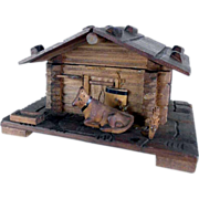 Hand Carved Box Alpine Cabin and Cow Black Forest