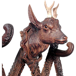 Hand Carved Expandable Wall Rack w. Dear Head Black Forest