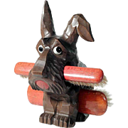Hand Carved Brush Holder Dog Scottie