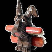 Hand Carved Brush Holder Dog Scottie