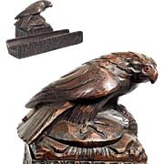 Hand Carved Desk Set Falcon Black Forest