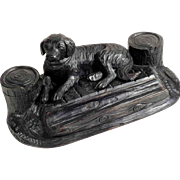 Hand Carved Desk Set Recumbent Dog about 1900