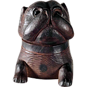 19th Century Hand Carved Ink Well Dog Head Boxer Black Forest