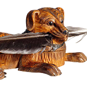 Recumbent  Chase Dog Hand Carved Ink Well ca. 1880
