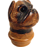 Fabulous Hand Carved Miniature Pug Dog Bottle Stopper Black Forest ca. 1900