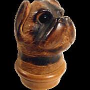 Fabulous Hand Carved Miniature Pug Dog Bottle Stopper Black Forest ca. 1900