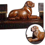 Lovely Hand Carved Desk Set Saint Bernard