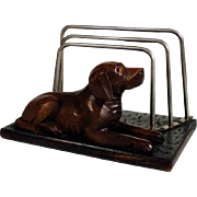Hand Carved Wooden Letter Rack Laying Pointer Black Forest