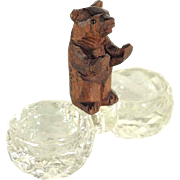 Hand Carved Miniature Bear Double Salt Black Forest ca. 1900