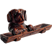 Charming Hand Carved Desk Set – Large St Bernard Dog Head