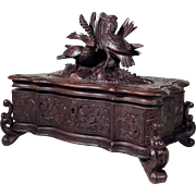 Hand Carved Jewelry Casket Birds ca. 1880 Black Forest
