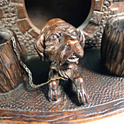 Anthropomorphic Box ca. 1870 Black Forest Hand Carving Dog