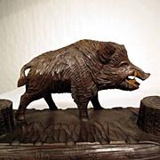 Hand Carved Desk Set Boar ca. 1900 Black Forest