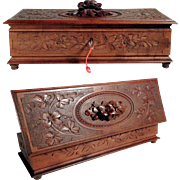 Hand Carved Wooden Jewelry Box Black Forest ca. 1880