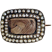 Charming Mourning Brooch Woven Hair and Seed Pearls
