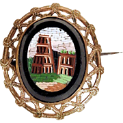 Micro Mosaic Brooch Coliseum in Rome Grand Tour Souvenir ca. 1880