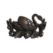 Gutta Percha Brooch  Swan Shape ca. 1900