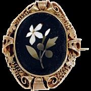 19C Large Pietra Dura Brooch Blossom