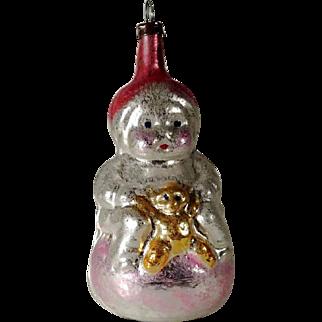 Adorable  Christmas Ornament Little Girl with Teddy