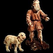 Creche Figures Santon Nativity Wooden Carving Sheepherder Sheep