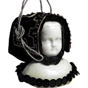 Christmas Ornament Biedermeier Doll Head Bisque Porcelain