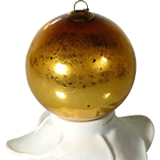 Biedermeier Kugel Christmas Mercury Gold Glass Ornament