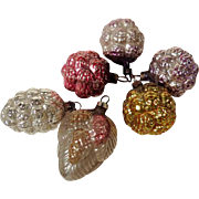 Six  German Christmas Ornaments Blackberries and Cones