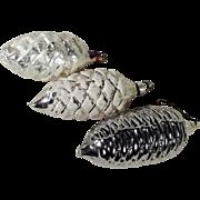 Three Christmas Ornaments Cones Mercury Glass German