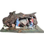 Charming Folk Art Wooden Old Creche Crib Santons