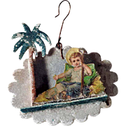 German Christmas Ornament Infant Jesus Venetian Dew