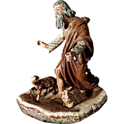 Special Creche Figurine Shepherd and his Sheep on Natural Fungus