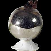 Large Biedermeier  Kugel Christmas Silver Color Mercury Glass Ornament