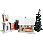 Snowy German Mica Light Houses Christmas Frame Houses