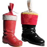 Pair of Papier Mache Santa Boot Container Christmas Stocking