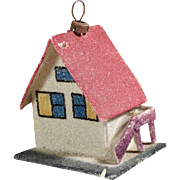 Darling Christmas Ornament Putz House with Red Roof