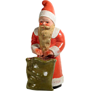 Old Papier Mache Santa Container with Basket