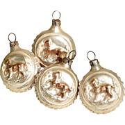 Four Small Christmas Ornaments Horses  - Lovely for Dollhouse