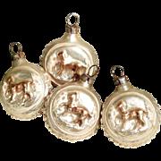 Four Small Christmas Ornaments Horses  - Lovely for Dollhouse