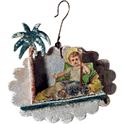 German Christmas Ornament Baby Jesus Venetian Dew