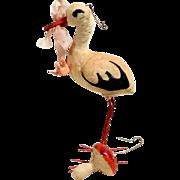 Two Old Spun Cotton Christmas Ornaments Mushroom and Stork