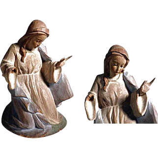 Charming German Santon Creche Praying Mary Hand Carving