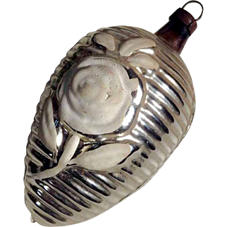German Christmas Ornament Mercury Glass Cone White Rose