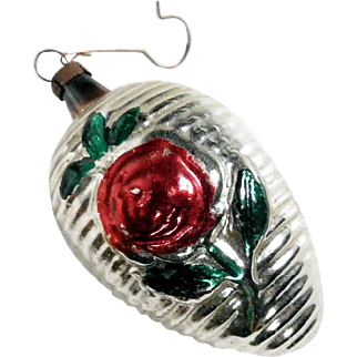 German Christmas Ornament Mercury Glass Cone Red Rose