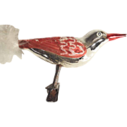 Large Mercury Glass Bird on Clip ca. 1930